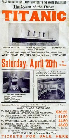 RMS Titanic A ticket poster from the White Star Line office in New York. Note the picture is not Titanic but is Olympic. Rms Titanic, Titanic Sinking, Titanic Wreck, Vintage Travel, Vintage Ads, Vintage Newspaper, Vintage Menu, Green Label, Titanic Artifacts