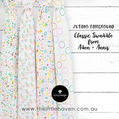 Keep baby warm and cozy in a classic swaddle from Aden + Anais ZUTANO FAIRGROUND. #thelittlehaven #albury