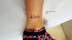 electrocardiogram #electrocardiogram #heart #ankle #woman #tattoo #smalltattoo #line #black #ink #madeleinedoll #stylized