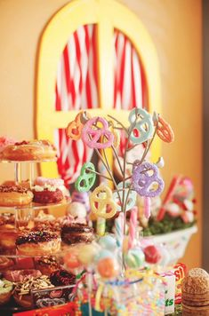 Pastel pretzel tree at a Hansel & Gretel birthday party!  See more party planning ideas at CatchMyParty.com!