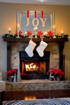 Amazing DIY Fireplace Mantel Christmas Makeovers- Love the snowflakes