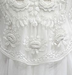 lacework, haute couture by Alexander McQueen All White, Pure White, White Lace, Antique Lace, Vintage Lace, Victorian Lace, Fru Fru, Lesage, Pearl And Lace