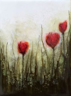 """""""Red blooms"""" encaustic 6x8 Inspired by all the spring blooms of this glorious season!!!!'"""