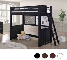 Dillon White Twin Loft Bed with Desk Underneath
