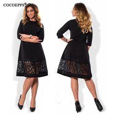 Womens Elegant Big Autumn O Neck Loose Plus Size Dress