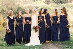 Love this idea for bridesmaid dresses with the different styles but all the same length and color. Also love this color.