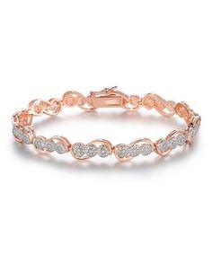 Loving this Diamond & Rose Goldtone Circle Tennis Bracelet on #zulily! #zulilyfinds