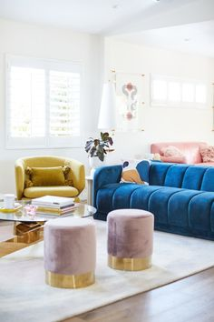 This gorgeous Los Angeles house has the most colorful collection of furniture. | House Tours by Apartment Therapy #retro #retrodecor #velvet #velvetsofa #livingrooms #livingroomideas #colorfuldecor #bluesofa #livingroomdecor Teen Furniture, Apartment Furniture, Colorful Furniture, Interior Design Living Room, Living Room Decor, Room Interior, Living Rooms, Design A Space, California Closets