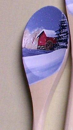 Hand painted decorative wooden spoon