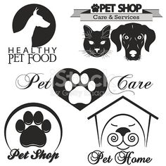 Pet shop dog and cat silhouette .Vector