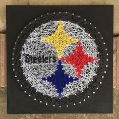 "Pittsburgh Steelers logo string art • 16"" x 16"" • Magnolia Design • custom orders available: etsy.com/shop/magnoliadesignee Christmas Decorations Diy For Kids, Christmas Nail Art Designs, Christmas Nails, Kids Christmas, Nail String Art, String Crafts, Man Crafts, Arts And Crafts, Wood Crafts"