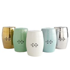 I like these simple Chinese Ceramic Garden Stools. Who knew they came in metallics! (from Wisteria)