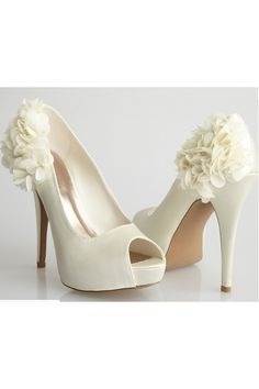 Allure Bridals-Sleek Ivory Satin Flower Peep Toe Heel