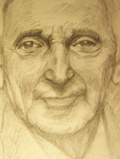 Zooming Charles Aznavour, a pencil drawing by Sirkka Jalava 4.9.2016