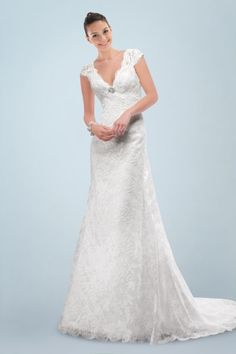 Elegant V-neckline A-line Wedding Gown with Delicate Applique and Lace Overlay