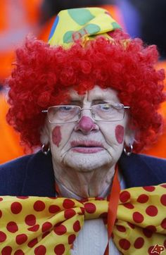 old lady clown - clowns are supposed to make you smile ... and even she does that!