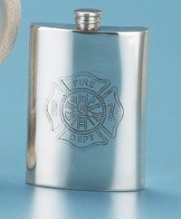 PEWTER FIREMAN'S FLASK, Made in England. by HandMadePewter. $59.99. Made in England. Classic, slightly curved hip shape. Twist-off pewter cap. PEWTER FIREMAN'S FLASK. Brightly polished finish.. The Maltese Cross, considered to be the international symbol of firefighters, is etched into the front and back side of this flask.. Material: Pewter. Origin: England.  Volume: 6 oz.  Dimensions: 5 in. Exclusive Product.