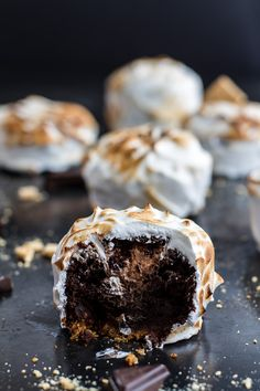 Meringue Encased Chocolate Mousse S'more Cakes | halfbakedharvest.com @Half Baked Harvest