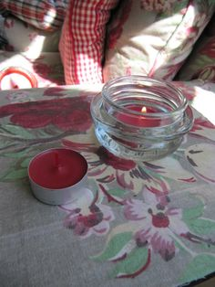 Sew Many Ways: Recycling Candle Jar Tops - I'd probably use them as tealight holders myself :)