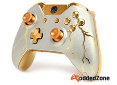 "Video Games ""Gold Thunder"" Xbox One Rapid Fire Modded Controller Pro Finish 40 Mods for OD Advanced Warfare, Destiny, Ghosts Quickscope, Jitter, . Custom Xbox One Controller, Xbox Controller, Xbox One S, Xbox One Games, Xbox 360, Playstation, Control Xbox, Diy Game, Manette Xbox One"