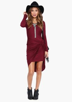 Almost There Dress in Burgundy | Necessary Clothing