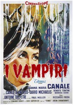"MP543. ""I Vampiri"" Italian Movie Poster by Arnaldo Putzu (Riccardo Freda & Mario Bava 1956) / #Movieposter"