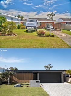 Before & After - A Modern Remodel For A 1970's Brick House Australian Architecture, Australian Homes, Wood Slat Wall, Building Development, S Brick, Small Buildings, Red Bricks, Facade Architecture, Mid-century Modern