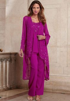 Shiny Embroidery Fuchsia Mother's Pant Suits Outfits of the Bride Groom Dresses 2016 Custom Made Plus Size with Jacket Wedding Evening Gowns