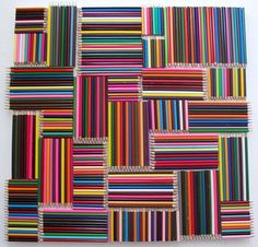 Pencil Board - Very simple idea, Coloured pencils glued to a board in a pattern 60 x 60 cm.