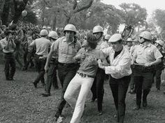 Demonstrator in Grant Park - The 1968 Democratic National Convention erupted in violence as thousands of Chicago police officers battled with activists protesting the Vietnam War.
