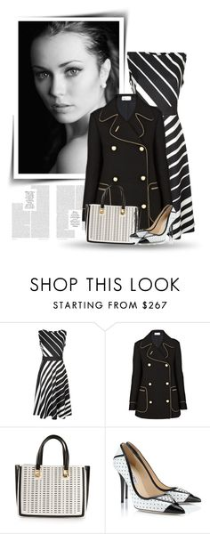"""""""Black, white and stripes"""" by bliznec-anna ❤ liked on Polyvore featuring Fenn Wright Manson, RED Valentino, Emanuel Ungaro and Jimmy Choo"""