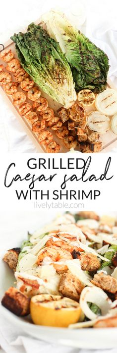 This grilled Caesar salad with shrimp is a delicious way to enjoy a healthy salad! Grilled romaine is topped with grilled shrimp, grilled onions, and grilled sourdough croutons for a delicious, light meal that is made entirely outside.   via livelytable.c