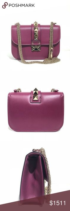 """Valentino Small Rockstud Nwt Shoulder Bag Valentino Small Rockstud Nwt Shoulder Bag. Brand new condition with cards and dustbag.  Limited edition plum color.  Leather.  Good hardware. Size - 8""""L x 6""""H x 2.5""""W Valentino Bags Shoulder Bags"""