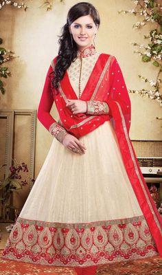 Cream and Red Chanderi Silk Anarkali Churidar Dress Price: Usa Dollar $246, British UK Pound £144, Euro181, Canada CA$264 , Indian Rs13284.