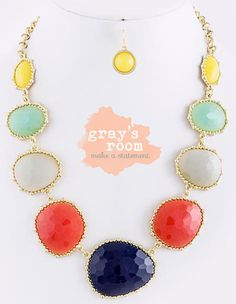BRAND NEW - Navy, Gray, Yellow & Mint Bib Necklace - Anthropologie Inspired Statement Necklace