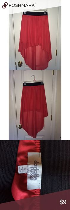 high-low rippled skirt like orange color, ripples in the front. size small,  goes good with a white or black shirt! good for the warmer weather Charlotte Russe Skirts High Low