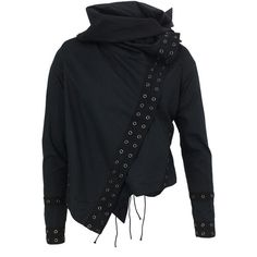 Lace Up-HLJ01 Black Jacket (1,410 GTQ) ❤ liked on Polyvore featuring outerwear, jackets, coats, shirts, religion clothing, asymmetrical jacket, eyelet jacket, draped jacket and black collared jacket