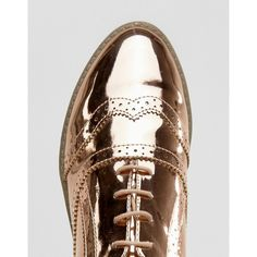 ASOS MAYHEM Brogues ($38) ❤ liked on Polyvore featuring shoes, oxfords, laced up shoes, shiny shoes, going out shoes, polish shoes and lace up oxfords