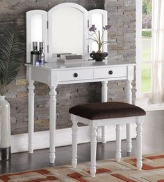 Poundex Vanity With Stool Makeup Table With Mirror, Mirrored Vanity Table, Vanity Table Set, Makeup Table Vanity, Wood Vanity, Vanity Set, Mirror Vanity, White Makeup Vanity, Olivia White