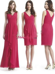 Elegant A-line V-neck Ruched Ruffles Chiffon Simple Wedding Bridesmaid Dress BD-50387