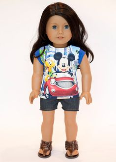 American Girl doll upcycled Disney character t shirt on Etsy, $10.00