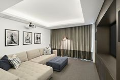North Sydney Penthouse Media Room, designed by Jodie Carter Design. Photo by Savills Real Estate, Double Bay