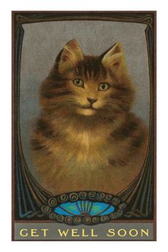vintage cat get well card
