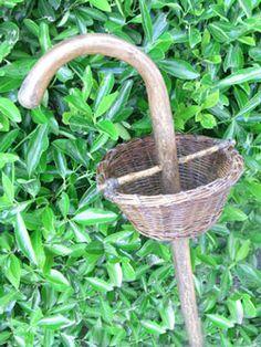 walking stick gathering basket