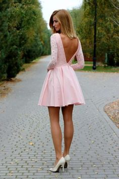 Pink lace Homecoming Dress, Sexy Mini Long Sleeves Party Dress, Deep V back backless Club Dresses from DRESS - Kleider Club Dresses, Short Dresses, Formal Dresses, Backless Dresses, Teen Dresses, Tight Dresses, Pretty Dresses, Beautiful Dresses, Gorgeous Dress