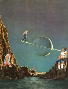 Walking on the ring. Collages, Surreal Collage, Surreal Art, Retro Kunst, Retro Art, Art And Illustration, Collage Art Mixed Media, Retro Futurism, Psychedelic Art