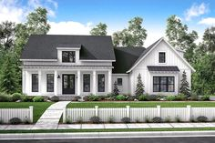 There's no shortage of curb appeal for this beautiful 3 bedroom modern farmhouse plan. The formal entry and dining room open into a large open living area with raised ceilings and brick accent wall. cut off hall and Clo rename BR to music room Craftsman Farmhouse, Farmhouse Floor Plans, Modern Farmhouse Exterior, Country House Plans, Farmhouse Design, Farmhouse Style, Country Style, Urban Farmhouse, Farmhouse Ideas