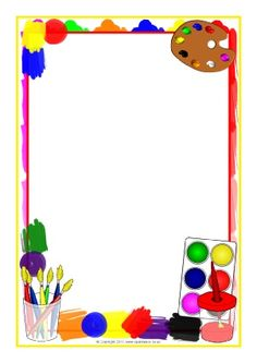 Painting-themed page borders - SparkleBox Más Page Boarders, Boarders And Frames, Boarder Designs, Page Borders Design, Kunst Party, School Frame, Borders For Paper, Class Decoration, Frame Crafts
