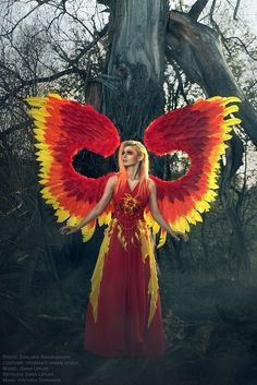 red phoenix fire dress and wings