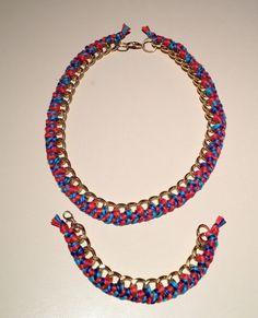 Chunky woven chain bracelet and necklace set  www.worldoftashii.etsy.com